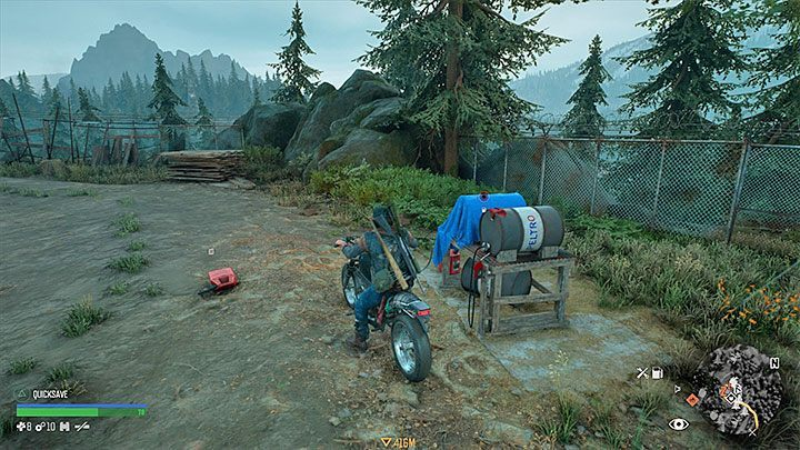 In the initial hours of the game, you can also rely on a fuel tank that is located in the area of the OLeary Mountain Safehouse - How to get motorcycle fuel in Days Gone? - Motorcycle - Days Gone Guide