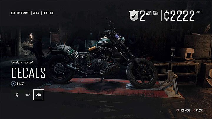How to apply special skins on a motorcycle in Days Gone