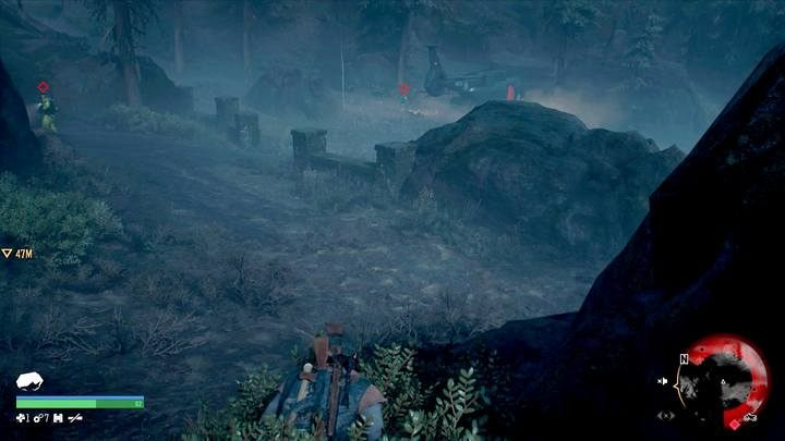 Hide behind rocks and inside shrubs to stay undetected. You can also mark enemies by using the binoculars. - Chasing Leon | Days Gone Walkthrough - Main storyline - Days Gone Guide