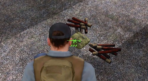 In order to pick up and item from the ground, you need to get fairly close to it (more or less at arm's length) and aim at it until one of the icons appears - Picking up items - Equipment - DayZ - Game Guide and Walkthrough