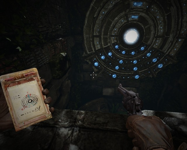 And another puzzle, light up 1 crystal at the bottom and one before the last at the top (dont get confused by the notebook on this screenshot) - Mayan Tombs - Walkthrough - Deadfall Adventures - Game Guide and Walkthrough