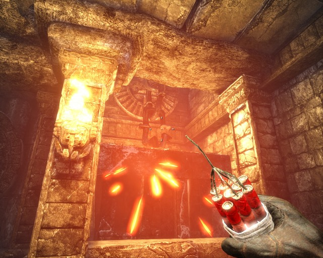 Throw dynamite at the chain. - Mayan Temple - Walkthrough - Deadfall Adventures - Game Guide and Walkthrough