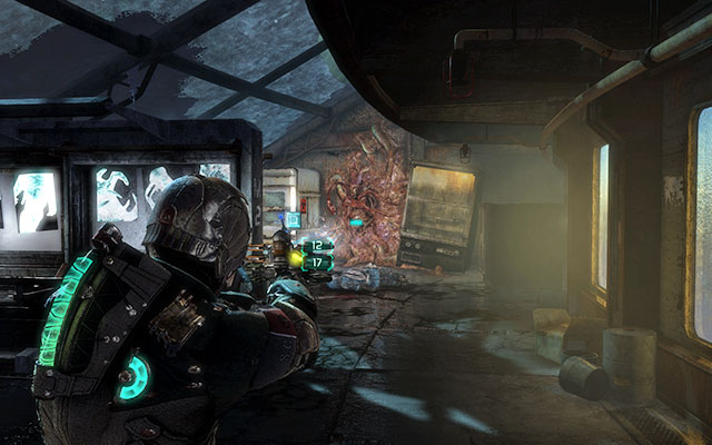 Wait until the door gets unlocked and follow the cleared corridor to the unlocked door on the right, more or less in the middle of the corridor - Collect the Rosetta samples - Biology sector - 14: Everything Has Its Place - Dead Space 3 - Game Guide and Walkthrough