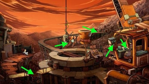 Rufus and unconscious Goal are near the junk mine, but there is mine cart missing, so Goal can't be transported any further - Fix the mine cart - Part 2 - Junk Mine - Deponia - Game Guide and Walkthrough