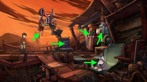 Notice the skeleton there, hanging on the semaphore - Fix the mine cart - Part 2 - Junk Mine - Deponia - Game Guide and Walkthrough
