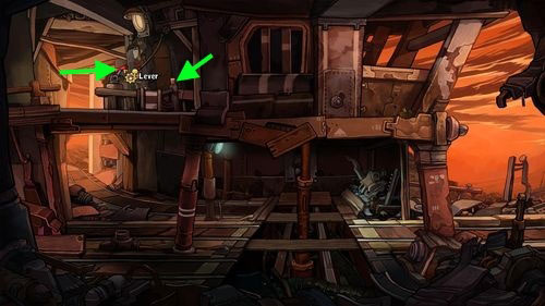 Switch the red Lever to turn on lights in the mine and then press the Button next to the lever - Place Goal in the mine cart - Part 2 - Junk Mine - Deponia - Game Guide and Walkthrough