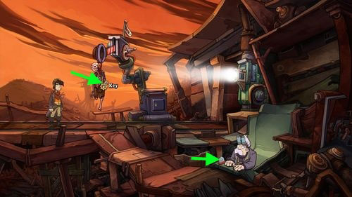 Notice that the semaphore with the skeleton is lower now - take the Key - Place Goal in the mine cart - Part 2 - Junk Mine - Deponia - Game Guide and Walkthrough