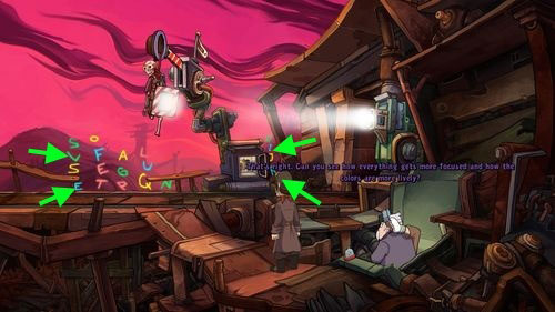 Now you have to focus on letters visible in a distance and tell the world, who you are - Place Goal in the mine cart - Part 2 - Junk Mine - Deponia - Game Guide and Walkthrough