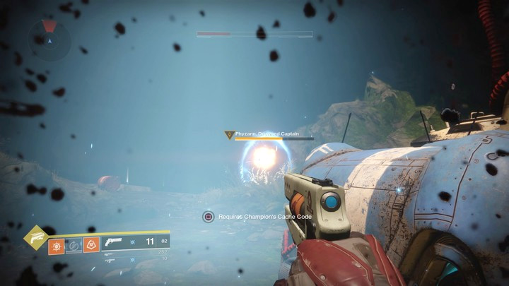 One of the mini-bosses, equipped with a shield, that you come across during your exploration of Lost Sectors - Boss fights | Combat - Combat - Destiny 2 Game Guide