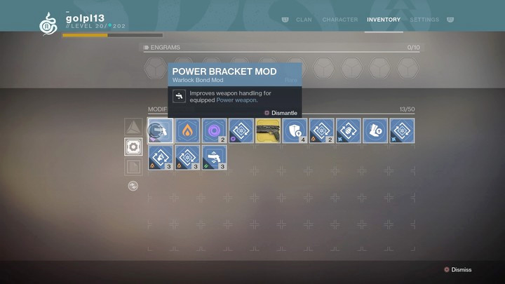 Over time, you can gather a lot of modifications - you shouldnt dismantle them, you can only get glimmer from them and they can be useful later - Modifications and ways of obtaining them | Equipment - Equipment - Destiny 2 Game Guide