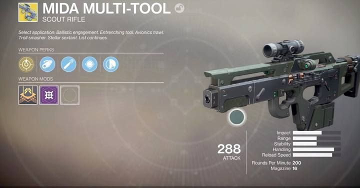 Now go to the Tower and talk to the gunsmith Banshee-44, who will give you a challenge to complete - you will receive an item in your inventory, which will occupy a slot next to your kinetic weapon - How to acquire the MIDA Multi-Tool | Exotic Weapon Quests - Exotic Weapon Quests - Destiny 2 Game Guide