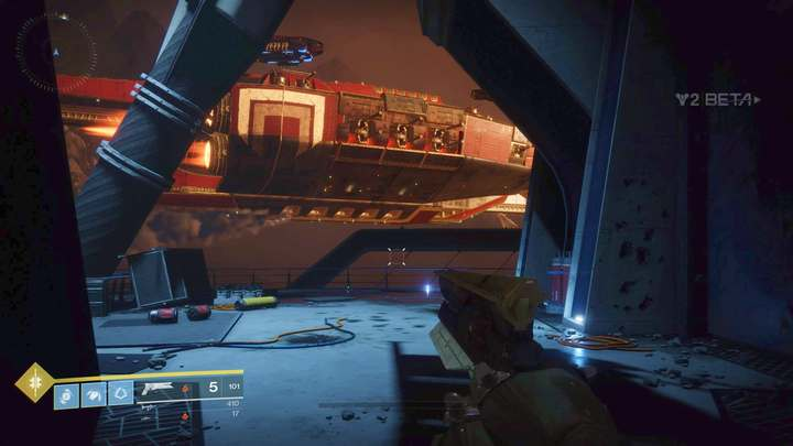 The entrance to the landing pad. - Homecoming - The beginning | Walkthrough - Walkthrough - Destiny 2 Game Guide