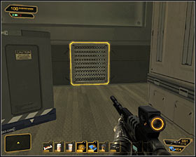 Hostages are held in the room upstairs but I DEFINITELY do not recommend using the stairs, because an attempt to pass through the door will result in prematurely arming the bomb and starting the countdown - (6) Saving hostages - Securing Sarifs Manufacturing Plant - Deus Ex: Human Revolution - Game Guide and Walkthrough
