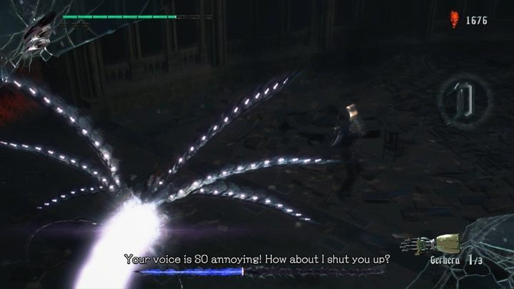 The last attack in the bosss repertoire is a powerful laser - jump over it and try to attack the enemy from behind - Artemish Boss Fight Guide for DMC5 - Bosses - Devil May Cry 5 Guide