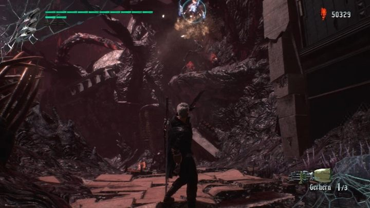 There are a few tentacles waiting for you at the top - also use levitating balls to get to two clusters of crystals - Mission 08 - Demon King | Devil May Cry 5 walkthrough - Main story missions - Devil May Cry 5 Guide