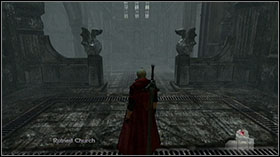 In Ruined Church take Combat Adjudicator test and enter the forest using door under the stairs - Mission 13: The Devil Returns - WALKTHROUGH - Devil May Cry 4 - Game Guide and Walkthrough