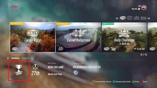 You can check the difficulty level of a competition in the bottom left corner of the screen. - Career and Rallycross modes in DiRT Rally 2.0 - Basics - DiRT Rally 2.0 Guide
