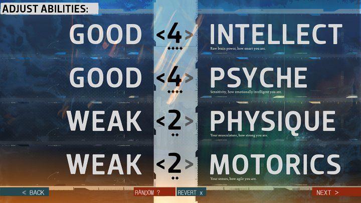 Bir sonraki pencerede puanları 4 Nitelik arasında dağıtabilirsiniz: Akıl, Ruh, Fizik ve Motorics - Disco Elysium: Karakter Oluşturma - Temeller - Disco Elysium Kılavuzu