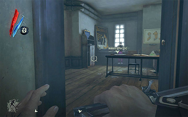 Note - before you set out to rescue Emily, make sure that you have the Golden Cat master key on you that can be taken away or stolen from Madam, who is currently occupying her office on the first floor (the above screenshot) - Rescuing Emily - Mission 3 - House of Pleasure - Dishonored - Game Guide and Walkthrough