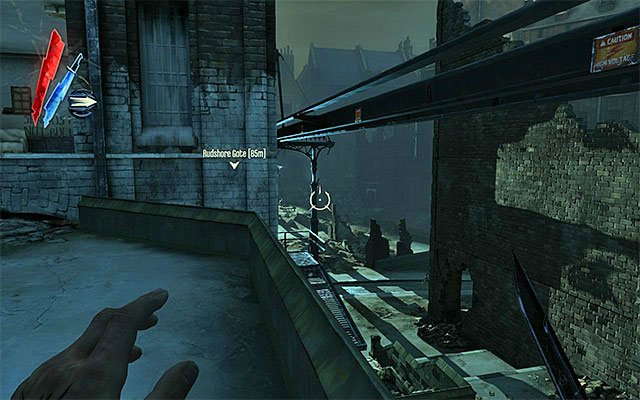 Variant 1; approach the quarantine wall from the left) If you want to approach the quarantine wall of light from the left, you need to get through the ruined buildings, mentioned in one of the previous subsections to this guide - Getting across the quarantine wall - Mission 7 - The Flooded District - Dishonored - Game Guide and Walkthrough