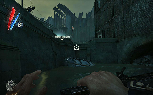 Variant 2; approach the quarantine wall from the right) If you want to approach the quarantine wall from the right, you need to walk near the building in which the survivors stayed - Getting across the quarantine wall - Mission 7 - The Flooded District - Dishonored - Game Guide and Walkthrough