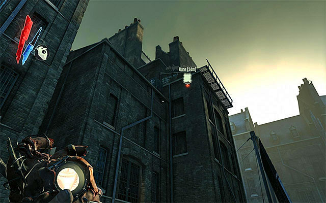 The plan assumes that you get to the roof of one of the buildings, so that you can jump off of it onto the rail's roof - Getting across the quarantine wall - Mission 7 - The Flooded District - Dishonored - Game Guide and Walkthrough