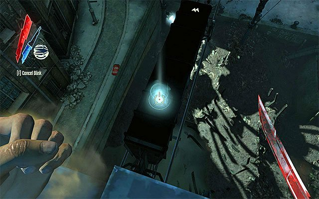 Position yourself directly above the tracks and wait for the rail to come, which may take a little while - Getting across the quarantine wall - Mission 7 - The Flooded District - Dishonored - Game Guide and Walkthrough