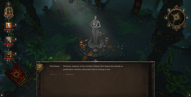 The talking statue, during the test - The Initiation / Infiltrating the Imaculates | Luculla Forest / Hiberheim - Main quests - Luculla Forest / Hiberheim - Main quests - Divinity: Original Sin Game Guide
