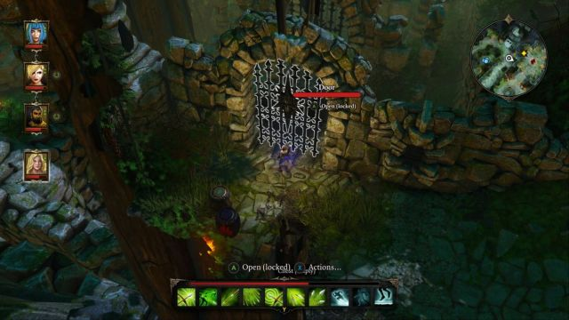 After arriving, you will have to constantly switch between your characters to activate different levers to get to the button. - Puzzle - opening the gate to the Source Temple | Dark Forest - Side quests - Dark Forest - Side quests - Divinity: Original Sin Game Guide