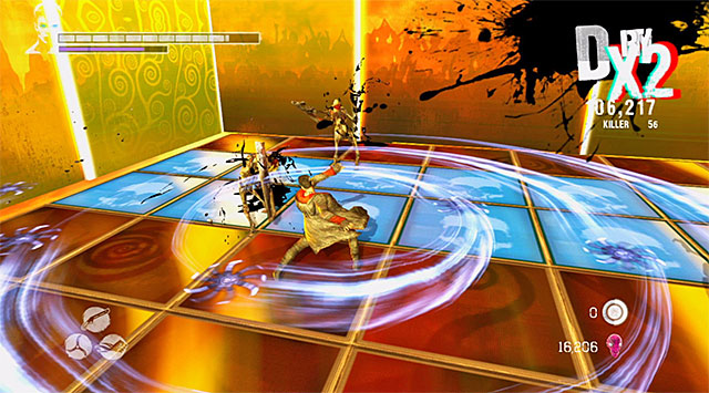 A typical feature of the battle which stands for the first round is a fact that from time to time, the tiles on the ground activates - Surviving the first round - 13: Devils Dalliance - DMC: Devil May Cry - Game Guide and Walkthrough