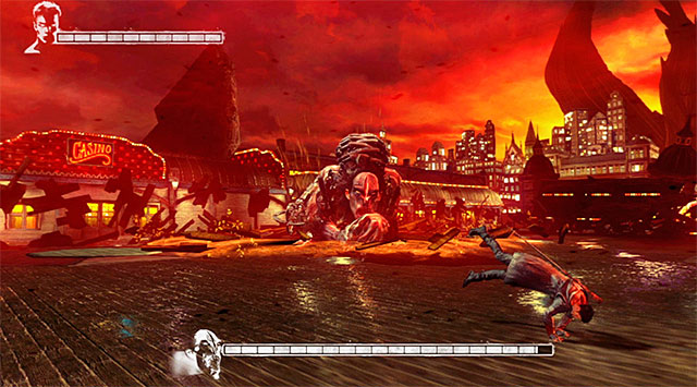 His second main attack is about to jump at you, so you have to be careful and avoid them - Boss: Hunter - 1: Found - DMC: Devil May Cry - Game Guide and Walkthrough