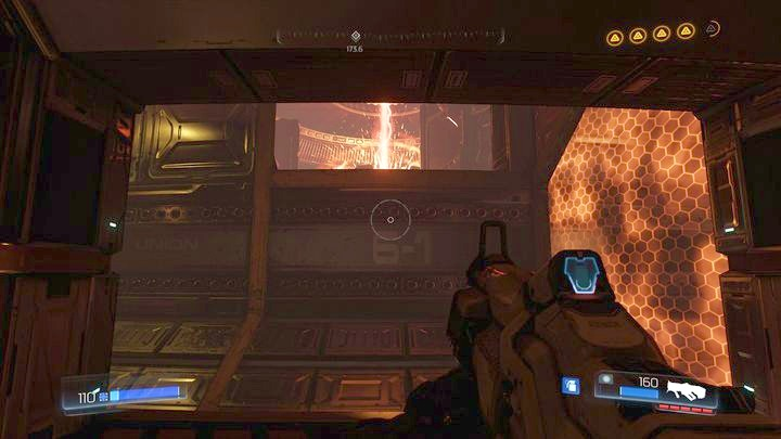 After reaching the place with containers almost at the top of the tower, wait for the path to be clear and then jump to the exit on the other side of the tunnel - Argent Energy Tower | Secrets - Secrets - Doom Game Guide & Walkthrough
