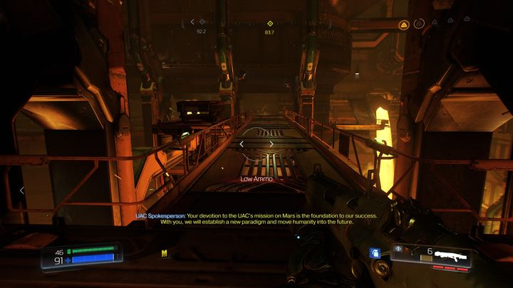 When standing in front of the door that requires the blue key, turn to the right and go forward until you reach the long bridge above the lava - Foundry | Secrets - Secrets - Doom Game Guide & Walkthrough