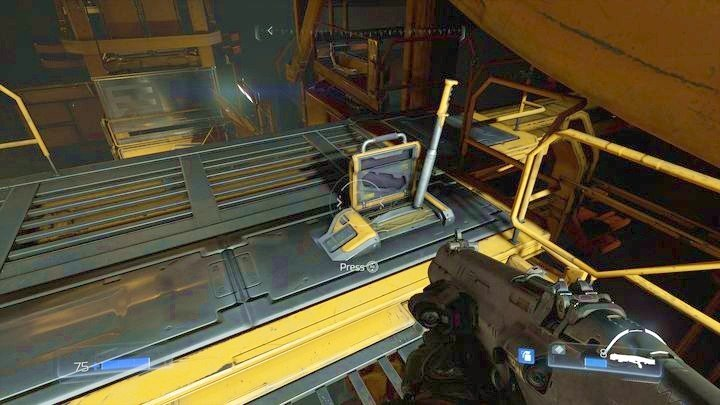 At the top of the platform you will find a lever that will unlock the classic map one floor below - Resource Operations | Secrets - Secrets - Doom Game Guide & Walkthrough