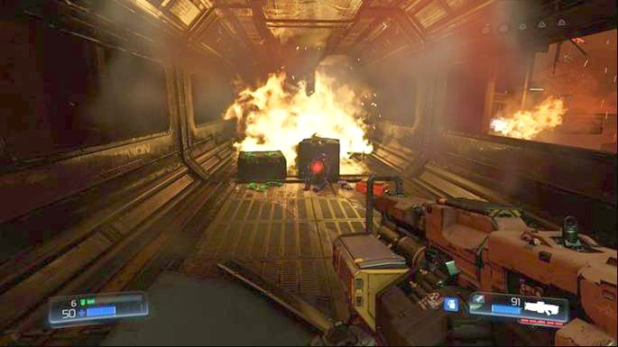 Walk forward and you will notice a ruined corridor below - Destroyed Argent Facility | Walkthrough - Walkthrough - Doom Game Guide & Walkthrough