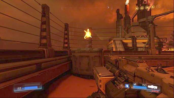 Now you can return to the entrance through which you walked and go to the right - Destroyed Argent Facility | Walkthrough - Walkthrough - Doom Game Guide & Walkthrough