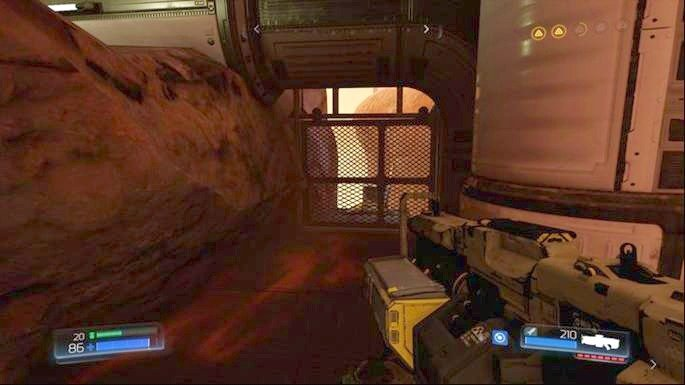 Stand at the exit from the tunnel and look left - Advanced Research Complex | Walkthrough - Walkthrough - Doom Game Guide & Walkthrough