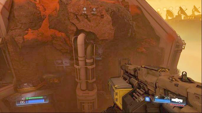 In order to use it you must climb to the top of the rock standing in the middle of the location (you will find armor there) - Advanced Research Complex | Walkthrough - Walkthrough - Doom Game Guide & Walkthrough