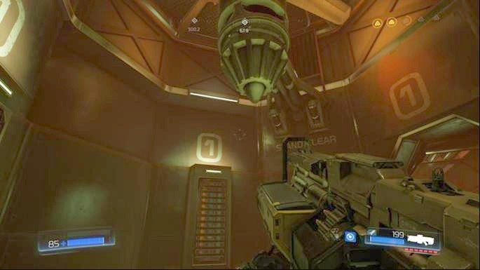 By going ahead you will reach the place from which you can get one floor higher - Advanced Research Complex | Walkthrough - Walkthrough - Doom Game Guide & Walkthrough