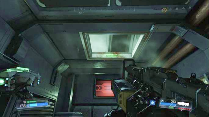 Use the shaft in the ceiling to climb one floor above after upgrading the weapon - Lazarus Labs | Walkthrough - Walkthrough - Doom Game Guide & Walkthrough