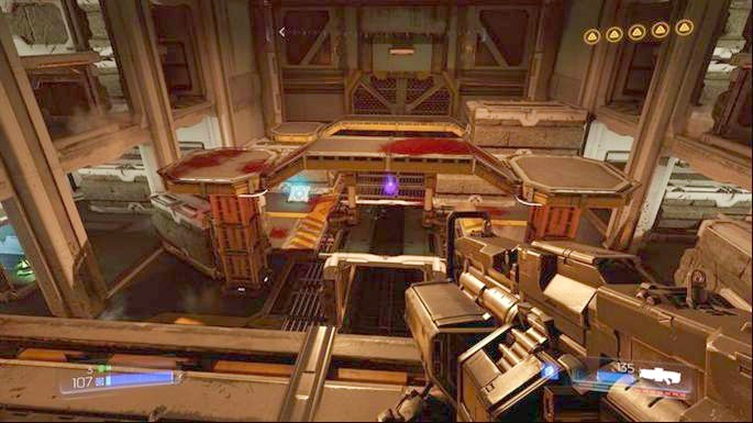 Enter the narrow corridor in the middle once the challenge is completed - Lazarus Labs | Walkthrough - Walkthrough - Doom Game Guide & Walkthrough