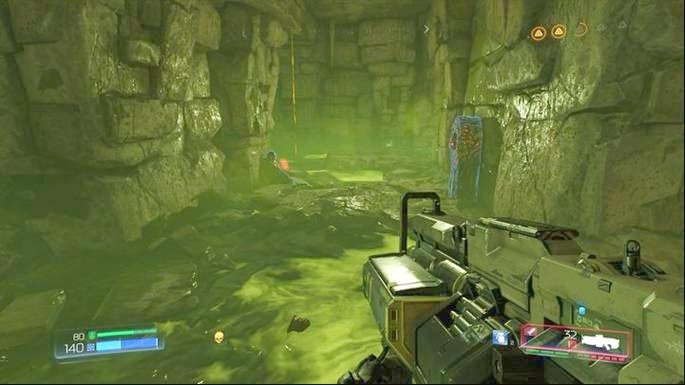 Instead of that, go to the left, to the chamber with green substance - Titans Realm | Walkthrough - Walkthrough - Doom Game Guide & Walkthrough