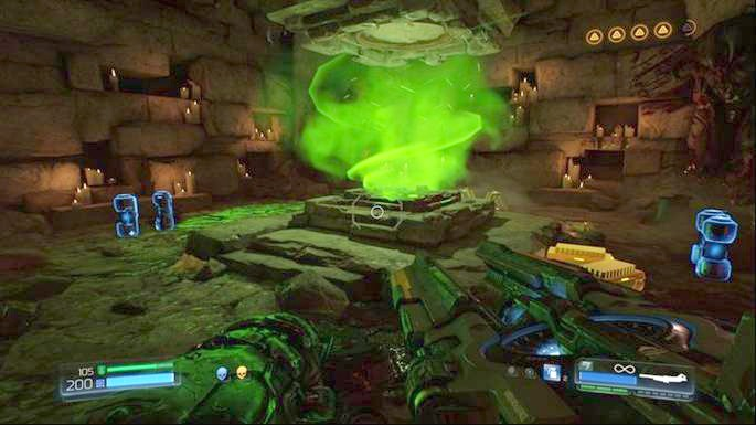 Use the green portal next to the exit after the battle and keep going ahead - Titans Realm | Walkthrough - Walkthrough - Doom Game Guide & Walkthrough