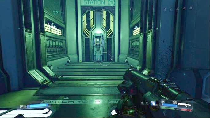 The door at the bottom will lead you to the room with the first deactivator - VEGA Central Processing | Walkthrough - Walkthrough - Doom Game Guide & Walkthrough