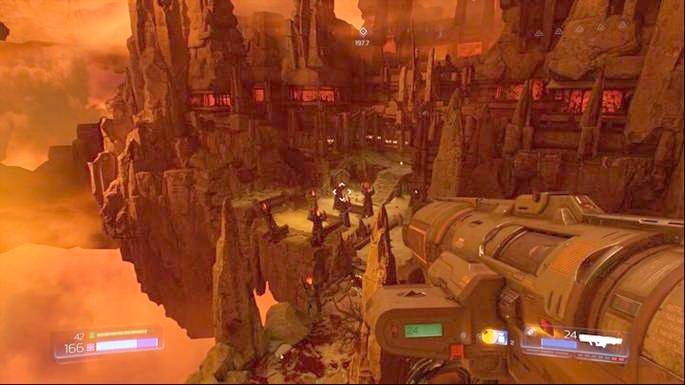 At the start of the level you should go ahead and jump from high altitude to the lower floor - Argent DNur | Walkthrough - Walkthrough - Doom Game Guide & Walkthrough