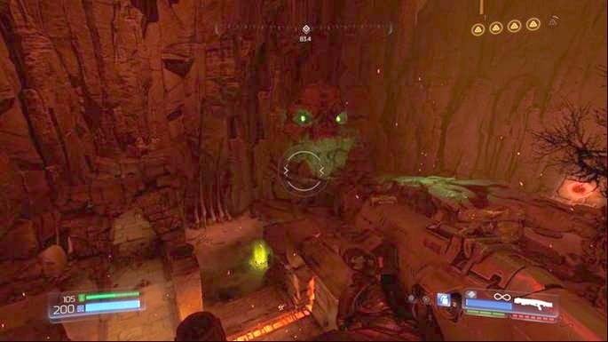 Get on the skulls on the other end of the arena after you destroy the second stone - Argent DNur | Walkthrough - Walkthrough - Doom Game Guide & Walkthrough