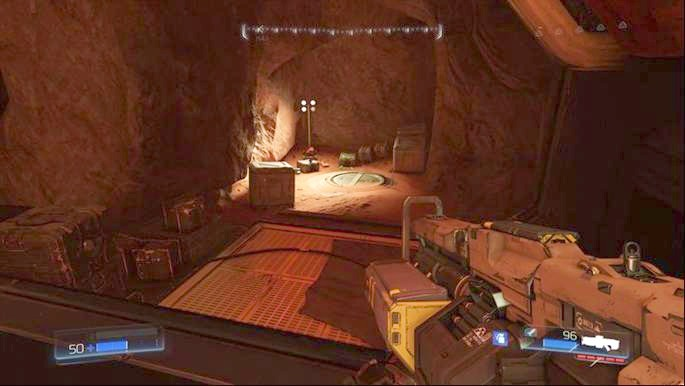 On the left from the entrance to classic map there is another platform - Destroyed Argent Facility | Secrets - Secrets - Doom Game Guide & Walkthrough
