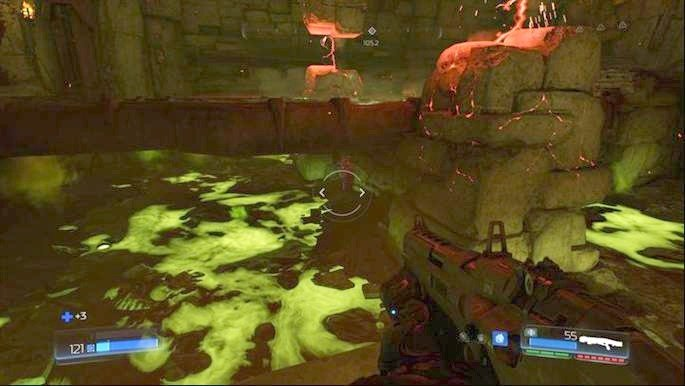 Once you get rid of the first large group of demons, jump on the platform below on the right and look under the bridge - Titans Realm | Secrets - Secrets - Doom Game Guide & Walkthrough