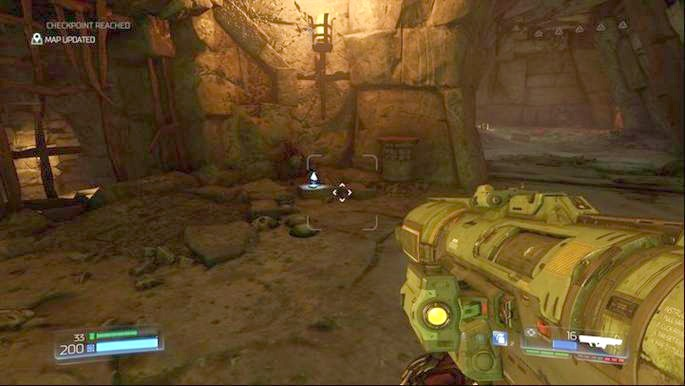 When you use the green teleport at the beginning of the level, on the other side you will notice a Data Log lying on the ground - The Necropolis | Secrets - Secrets - Doom Game Guide & Walkthrough