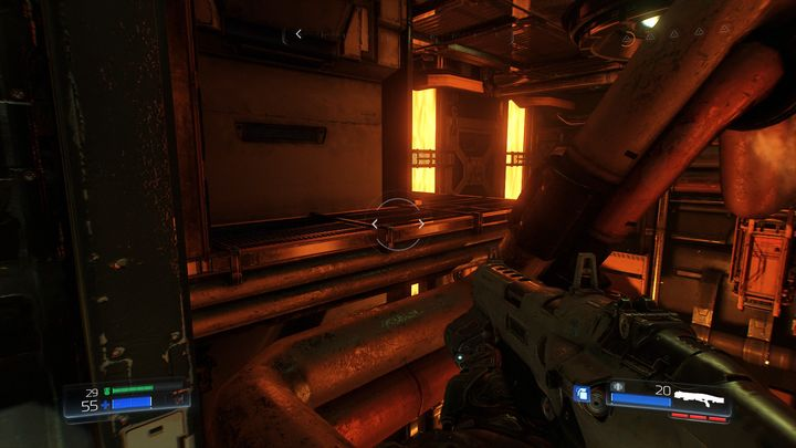 Turn around towards the gap in the sidewalk after obtaining the hand required to be used at one of the terminals - Foundry | Secrets - Secrets - Doom Game Guide & Walkthrough